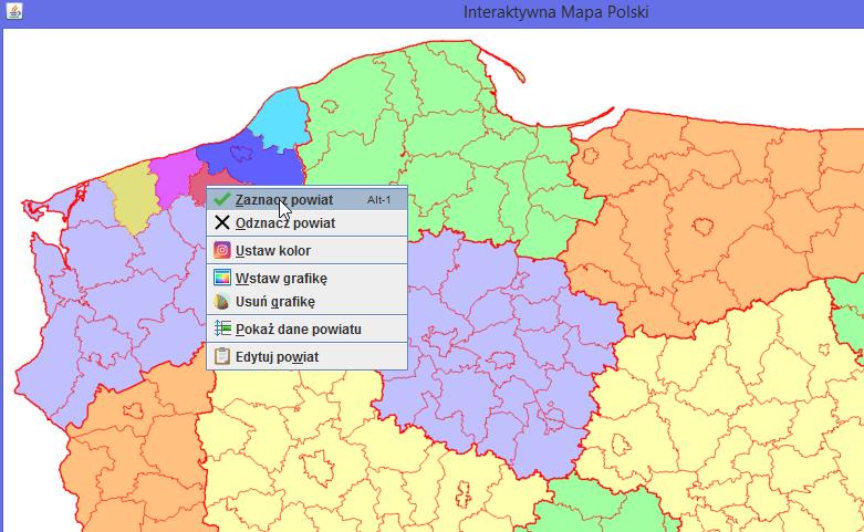 Interaktywna Mapa Polski - ogólny wygląda mapy