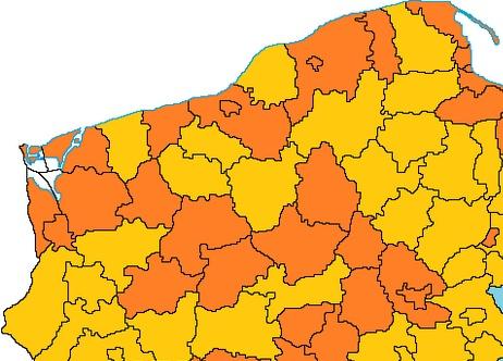 Interaktywna Mapa Polski - nowa grafika dla powiatów - fragment